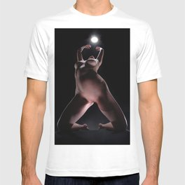 8633-LP Sensual Fine Art Nude Woman on Her Knees Reaching for the Light T-shirt