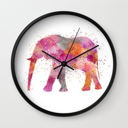 Artsy watercolor Elephant bright orange pink colors Wall Clock