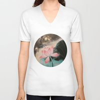 lotus V-neck T-shirts featuring Lotus by Priscilla Moore