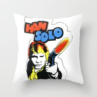 han solo Throw Pillows featuring Han Solo by Popp Art