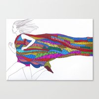 running Canvas Prints featuring Running by Eleana Gonzalez