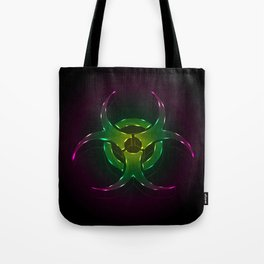 An illustration of a fluorescent biohazard symbol.  Tote Bag