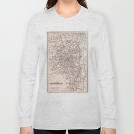 Vintage Map of The Adirondack Mountains (1901) Long Sleeve T-shirt