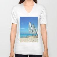 cuba V-neck T-shirts featuring Cuba Beach by Parrish