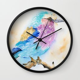 The Fuzzy Ball - Lilac-breasted roller bird Watercolor Painting Print by Nisha Sehjpal Wall Clock