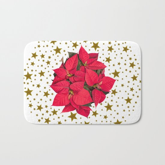 Red Christmas flower and sparkly gold stars Bath Mat