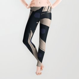 Paint Strokes Pattern - Navy, Blueberry, and Light Sand Colours Leggings