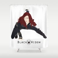 black widow Shower Curtains featuring Black Widow by trenchcoatandimpala