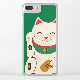 Green Lucky Cat Maneki Neko Clear iPhone Case