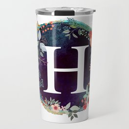 Personalized Monogram Initial Letter H Floral Wreath Artwork Travel Mug