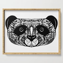 Panda on white background black hand-drawing head Serving Tray