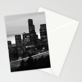 Seattle Skyline Sunset City - Black and White Stationery Cards