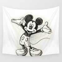 mickey Wall Tapestries featuring Mickey Mouse by Herself