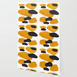 Mid Century Abstract Black & Yellow Fun Pattern Floating Mustard Bubbles Cheetah Print Wallpaper