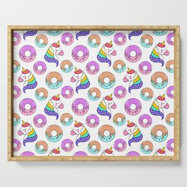 Cute happy funny colorful dreaming magical fantasy unicorns, sweet yummy Kawaii adorable donuts cartoon white pattern design. Serving Tray