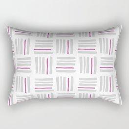 Stripes×Checkered Pattern_White&Pink Rectangular Pillow