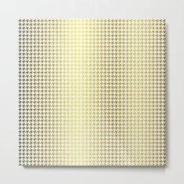 Gold Foil & Bright White Houndstooth Check Pattern Metal Print