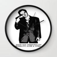 quentin tarantino Wall Clocks featuring TARANTINO by Rocky Rock