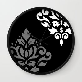 Scroll Damask Art I Black Grey White Wall Clock