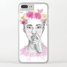 Girl and butterfly Clear iPhone Case