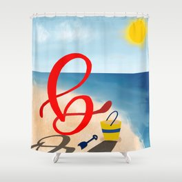 Baby B at the Beach Shower Curtain