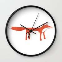 mr fox Wall Clocks featuring Mr Fox by Nic Squirrell