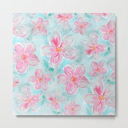 Hand painted teal fuchsia watercolor floral Metal Print