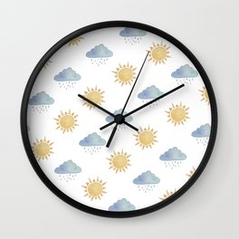 Sun and clouds  Wall Clock