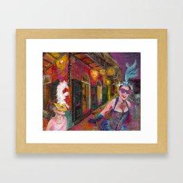 Original Acrylic Painting, New Orleans, Mardi Gras, NOLA,  NIGHT JOY, by Gretchen Smith Framed Art Print