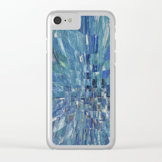 Abstract blue pattern 5 Clear iPhone Case