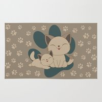 mew Area & Throw Rugs featuring Mama, Mew...Mew... by HK Chik