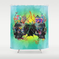 archan nair Shower Curtains featuring Mixed Signals by Archan Nair