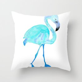 Aqua Watercolor Flamingo Throw Pillow