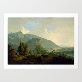 Joseph Wright of Derby - Italian Landscape with Mountains and a River Art Print