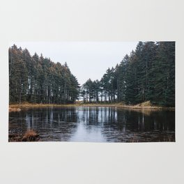 Tree Lined Lake Photography Print Rug