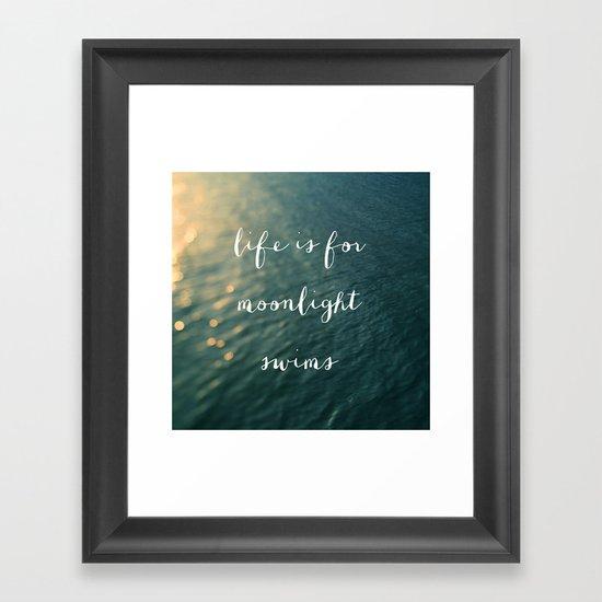 Life Is For Moonlight Swims Framed Art Print