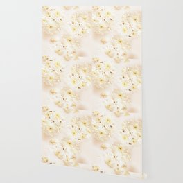 Lost in Antique White Flowers Wallpaper