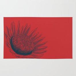 Slate & Hot Orange Waratah - Australian wildflower Rug