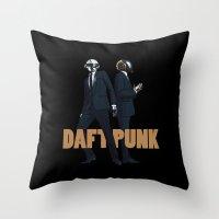 daft punk Throw Pillows featuring Daft Punk by joshuahillustration