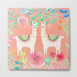 Llama in a floral frame Metal Print