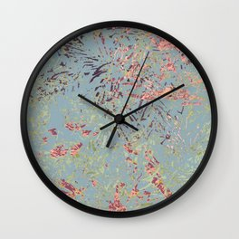 Sage Pine leaves Abstract Pattern Wall Clock