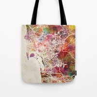 san diego Tote Bags featuring San Diego by MapMapMaps.Watercolors
