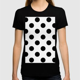Large Polka Dots - Black on White T-shirt