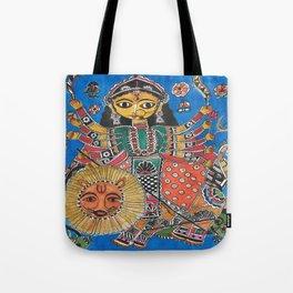 Madhubani - Blue Durga Tote Bag