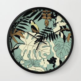 Modern Jungle Rain Forest Minimalist Parrot Wall Clock