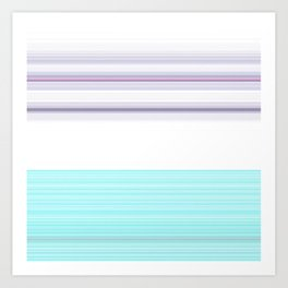 Romantic Pastel Teal white Purple Stripes Art Print