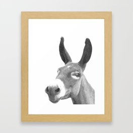 Black and white donkey Framed Art Print