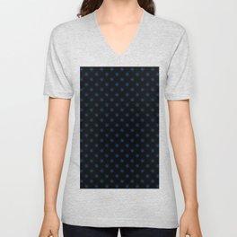 Brandeis Blue on Black Snowflakes Unisex V-Neck