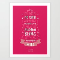jane eyre Art Prints featuring Jane Eyre by Nikita Gill