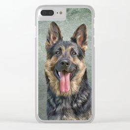 German Shepherd dog. Drawing, illustration funny dog Clear iPhone Case